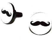 Black Billet License Frame Bolts - 'Stache - Set of 2