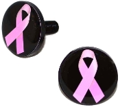 Black Billet License Frame Bolts - Pink Ribbon on Black - 2