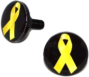 Black Billet License Frame Bolts - Yellow Ribbon on Black - 2