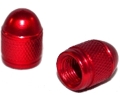 Knurled Bullet Valve Stem Caps - Red - Set of 2