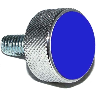 Harley Twin Cam Air Cleaner Bolt - Chrome Billet Solid - Blue