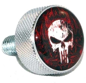 Harley Twin Cam Air Cleaner Bolt - Chrome Billet Punisher Skull