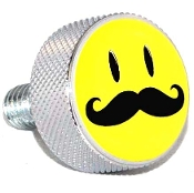 Harley Twin Cam Air Cleaner Bolt - Chrome Billet Smiley 'Stache