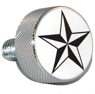 Harley Twin Cam Air Cleaner Bolt - Chrome Billet Star - White
