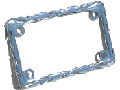 Motorcycle License Plate Frame - Flame - Chrome