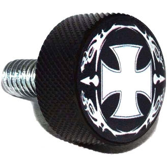 Harley Twin Cam Air Cleaner Bolt - Black Billet Iron Cross - OWB