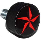 Harley Twin Cam Air Cleaner Bolt - Black Billet Star - Red