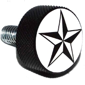 Harley Twin Cam Air Cleaner Bolt - Black Billet Star - White