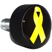 Harley Twin Cam Air Cleaner Bolt - Black Billet Ribbon Yellow B