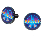 Black Billet License Frame Bolts - Peace - Set of 2