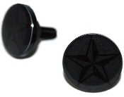Black Billet License Frame Bolts - Star - Black/ Gray- 2