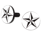 Black Billet License Frame Bolts - Star - Black/ White - 2
