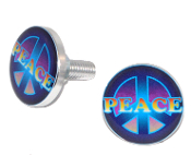 Polished Billet License Frame Bolts - Peace - 2