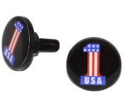 Black Billet License Frame Bolts - #1 USA Black - Set of 2
