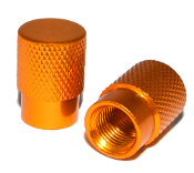 Knurled Flat Top Valve Stem Caps - Gold - Set of 2