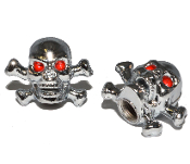 Skull & Bones Valve Stem Caps - Chrome - Set of 2