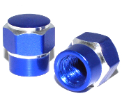 Hex Valve Stem Caps - Blue - Set of 2