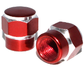 Hex Valve Stem Caps - Red - Set of 2