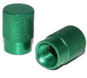 Knurled Flat Top Valve Stem Caps - Green - Set of 2