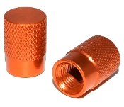 Knurled Flat Top Valve Stem Caps - Copper - Set of 2