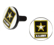 Black Billet License Frame Bolts - Army Logo White - Set of 2