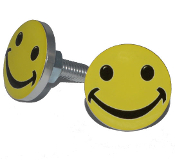 Polished Billet License Frame Bolts - Smile Face - Set of 2