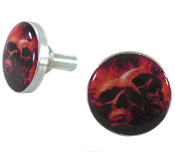 Polished Billet License Frame Bolts - Grave Skulls - Set of 2
