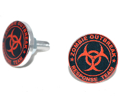 Polished Billet License Frame Bolts - Zombie Outbreak - R/B