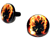 Black Billet License Frame Bolts - Flaming Skull - Set of 2