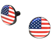 Black Billet License Frame Bolts - USA Flag - Set of 2