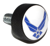 Harley Twin Cam Air Cleaner Bolt - Black Billet USAF Logo White
