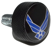 Harley Twin Cam Air Cleaner Bolt - Black Billet USAF Logo Black