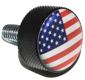 Harley Twin Cam Air Cleaner Bolt - Black Billet Flag - USA