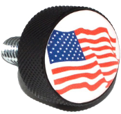 Harley Twin Cam Air Cleaner Bolt - Black Billet Flag - American