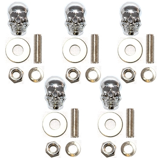 Motorcycle Windshield Bolts - Skull w/ Silver Eyes - 5