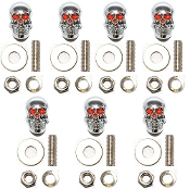 Motorcycle Windshield Bolts - Skull w/ Red Eyes - 7
