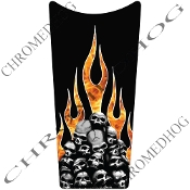 89-07 Road & Electra Glide Dash Insert Decal - Skull Real Flame