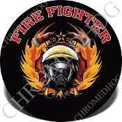 Knurled Valve Stem Caps - Fire Fighter Black Text - 2