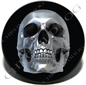 Knurled Valve Stem Caps - Chrome Skull - 2