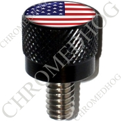 Harley Custom Seat Bolt - S KN Black Billet - Flag USA H