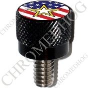 Harley Custom Seat Bolt - S KN Black Billet - US Army S US Flag