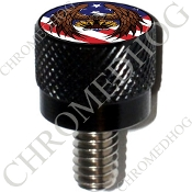 Harley Custom Seat Bolt - S KN Black Billet - Eagle US Flag NT