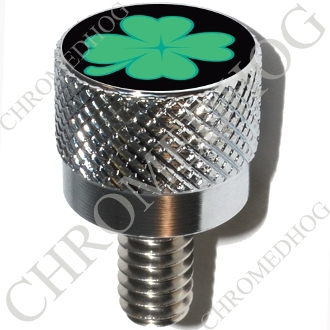 Harley Custom Seat Bolt - S KN Chrome Billet Clover - Black