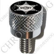 Harley Custom Seat Bolt - S KN Chrome Billet - Sheriff Badge B
