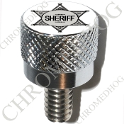 Harley Custom Seat Bolt - S KN Chrome Billet - Sheriff Badge W