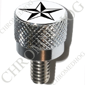 Harley Custom Seat Bolt - S KN Chrome Billet - Star Black/White