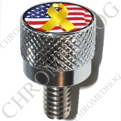 Harley Custom Seat Bolt - S KN Chrome Billet - Ribbon Y/Flag