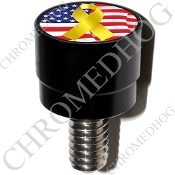 Harley Custom Seat Bolt - S SM Black Billet Ribbon - Y/Flag