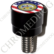 Harley Custom Seat Bolt - S SM Black Billet Army Dept - US Flag