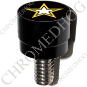 Harley Custom Seat Bolt - S SM Black Billet Army Star - Black